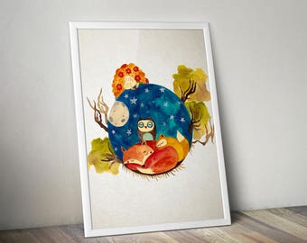 Sleeping girlg with fox, owl, squirrel watercolor illustration art print childrens room, nursery wall decor home hanging art decor