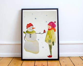 Snowman and girl watercolor illustration wall hanging home decor print art nursery childrens room decor baby shower gift