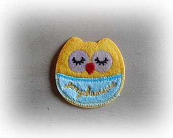 patch fusible patch / applique OWL - blue and yellow OWL 7.5 * 7 cm