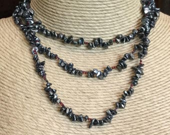 Hematite crocheted beaded very long necklace