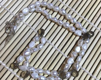 Handmade by Shae Hanke Freshwater Pearl Necklace with Faceted Smoky Quartz Drops