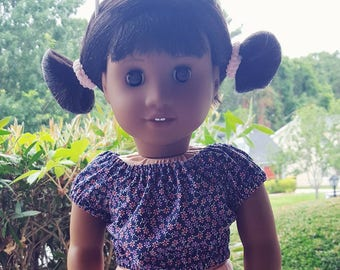 18 inch doll clothes - peasant top purple floral