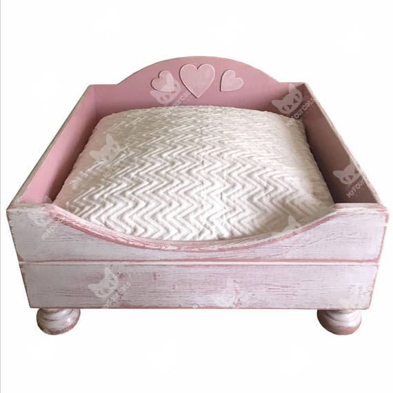 Cat Bed Cat Cushion Pink Sweetheart Shabby Chic Wood Cat Bed Open Floor Pet Bed