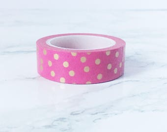 Gold Dots Pink Washi - Pink with Gold Foil Washi - Gold Stationery - Pink Stationery