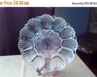 ON SALE Clear Glass Deviled Eggs Plate, Vintage Egg Plate