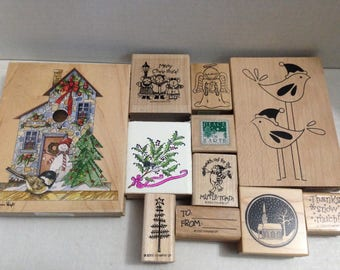 Vintage rubber stamp grab bag Christmas #6