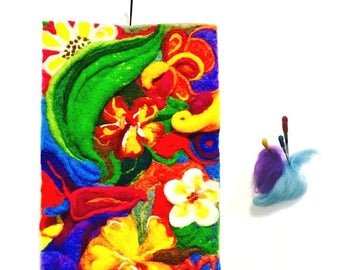 ON SALEcij 20% off Floral 3D Tapestry or Wool Painting, Needle Felted Art.