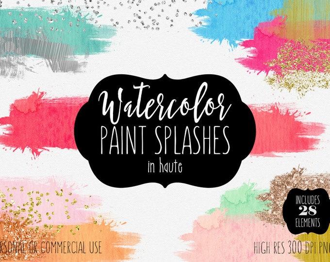 WATERCOLOR BRUSH STROKES Clipart Commercial Use Clip Art 28 Watercolor Paint Rectangle Splash Silver Gold Confetti Textures Logo Graphics
