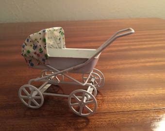 Vintage doll house miniature metal baby carriage with cute floral fabric