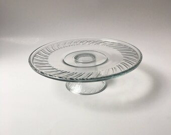 Vintage Spiral Clear Glass Cake Stand, Spiral Glass Cake Stand, Vintage Wedding Cake Stand, Vintage Cake Plate, Dessert Plate, Cupcake Stand