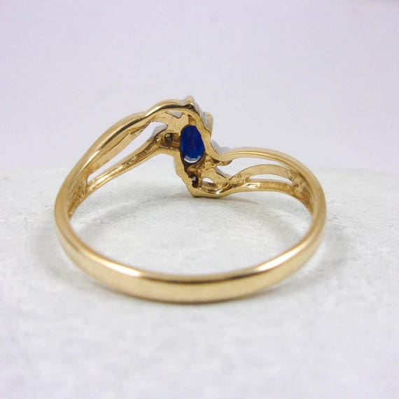 Solid 10K Yellow Gold 0 31 CT Dark Sapphire and Diamond Ring
