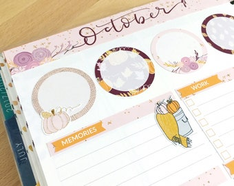 October 2017 Notes Page Kit -  October Monthly Sticker Kit - October Monthly Note Kit Glossy/Matte Stickers N710