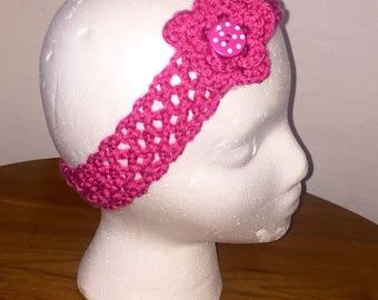 Girl's Crochet Headband, Girl's Headband, Baby Headband, Baby Photo Prop, Headband with Flower, Handmade Headband, Fiver Friday