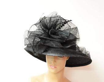 Wild black Kentucky Derby hat, English Royal Hat, Wedding Hat, Church Hat, Formal Hat, Dressy Hat