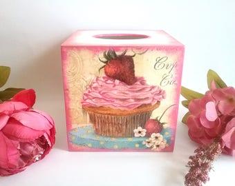 Napkin holder, tissue box cover, tissue box, tissue holder, kitchen decor, wooden tissue box cover, decoupage tissue box, cupcake box, gifts