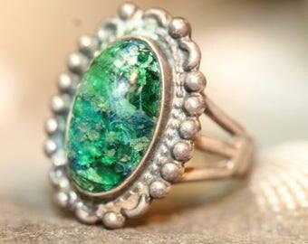 Old Wonderful Vintage Sterling Silver Multi Color Oblong Art Glass Ring