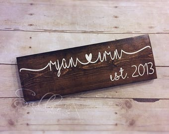 Custom wood signs | Couples sign | Housewarming gift | Established sign | Family name sign | Wedding gift | Anniversary gift