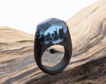 Soul of the Forest wooden resin ring. Eco epoxy jewelry. Green Wood the secret of the magical world in a tiny landscape. Glows in the dark