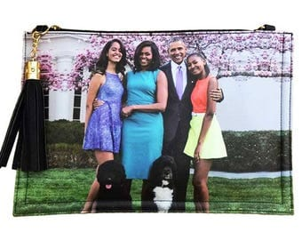 Obama Family with Bo and Sunny Tassel Clutch