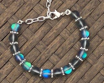 Rainbow Moonstone Bracelet ~ White Labradorite Jewellery ~ Healing Stones ~ Iridescent ~ Easter Gift ~ Mother's Day ~ Bohemian Style