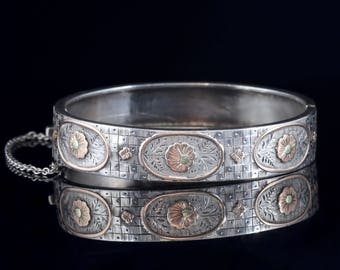 Antique Victorian 18ct Gold Silver Forget Me Not Bangle Circa 1890