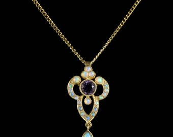 Opal and Amethyst Pendant Necklace 9ct Gold on Silver