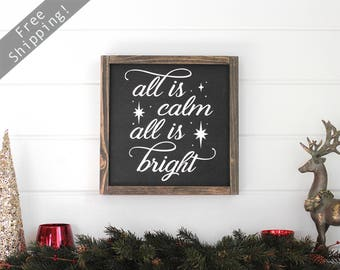 """All Is Calm All Is Bright Sign, Silent Night Wood Sign, All Is Calm Sign, Christmas Decorations Rustic, Farmhouse Christmas, 12"""" x 12"""""""