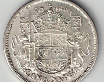 Canada 1958 50 Cents Half Dollars Queen Elizabeth II 800 Silver Coin