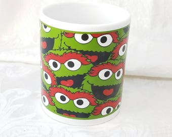 Vintage Oscar the Grouch Mug, Sesame Street Coffee Cup, Jim Henson Oscar Coffee Cup Father's Day Gift  Gift for Him