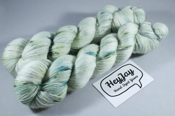Hand Dyed Sock Yarn Merino, Alpaca, Nylon Blend - Mint Chip