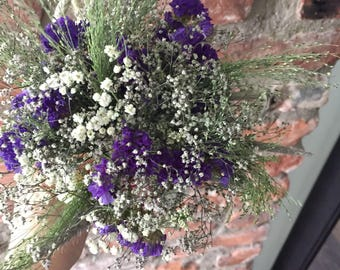 Dried flower bouquet,dried rustic bridal bouquet,blue bridal bouquet, dried flowers arrangement, dried statice, dried wild flowers
