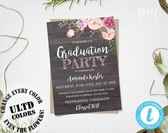 custom graduation party invitations with black white photo