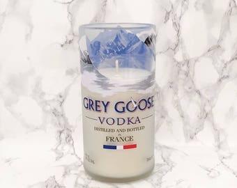 Upcycled Grey Goose Vodka Bottle Candle