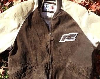 Vtg Suede Perry Ellis Bomber Jacket Full Zip Size medium