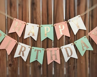 Peach Mint Birthday Banner, Happy Birthday, 1st Birthday, Mint and Gold Birthday