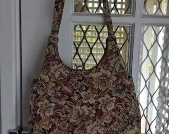 1970s Tapestry French Elegance Floral  Shoulder Bag by Marcelle