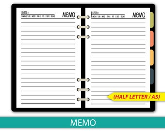 5.5x8.5 Memo inserts Printable,Lined & Blank Notes,Half size printable refills,Memo,DIY Planner,PDF Instant Download #half018