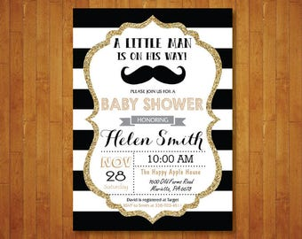 Little Man Baby Shower Invitation. Little Man Mustache Baby Shower Invitation. Boy Baby Shower. Black and Gold Glitter. Printable Digital.