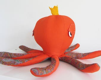 """octopus soft toy """"medium orange King Octop."""" travel buddy,home decor for adults, new friend for children"""