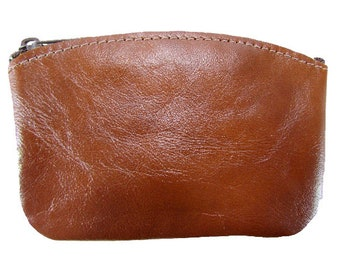 Leather Zippered Coin Pouch Made in the USA, Chestnut