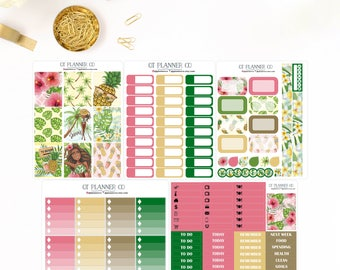 Tropical Summer Vacay Collection Planner Stickers for use in Vertical Erin Condren Life Planner, African American, Palm Trees, Beach, Flower