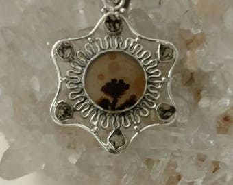 Russian Dendritic Agate and Herkimer Diamond Pendant Necklace