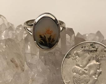 Petite Russian Dendritic Agate Ring,  Size 6