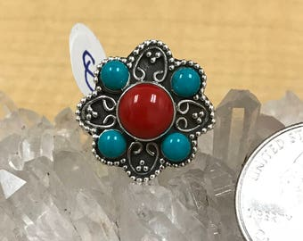 Turquoise and Red Coral  Ring Size 8