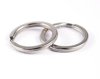 10 pcs Stainless Steel Key Rings 20 mm - Flat | 304 Grade Stainless Steel Split Ring Key Rings | 20 mm Key Rings | Flat Key Rings | 0326