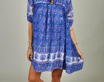 Vintage 1970's Shot Sleeve Blue Indian Cotton Gauze Tunic/Mini Dress   S5
