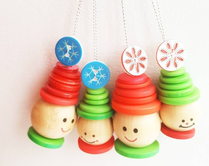 Button elf family bobble hats