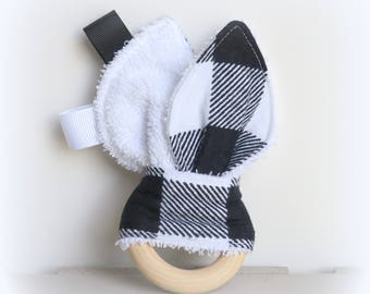 Bunny ear teething ring toy, baby teether, wooden teething ring, soother, crinkle toy, ribbon teether, bunny ear baby teething toy