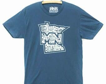 "MN ""Beautiful Outlook"" T-Shirt : Indigo T-Shirt / Minnesota T-Shirt / Minnesota Clothing / MN / Twin Cities / Saint Paul / Minneapolis"