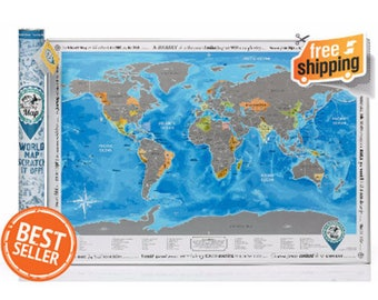 Best Friend Birthday Gift. Personalized World Wall Map with Scratch off and Stickers. Perfect Gift for Best Friend